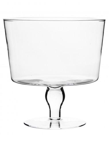 Duża szklana prosta salaterka na nóżce 26x25 cm