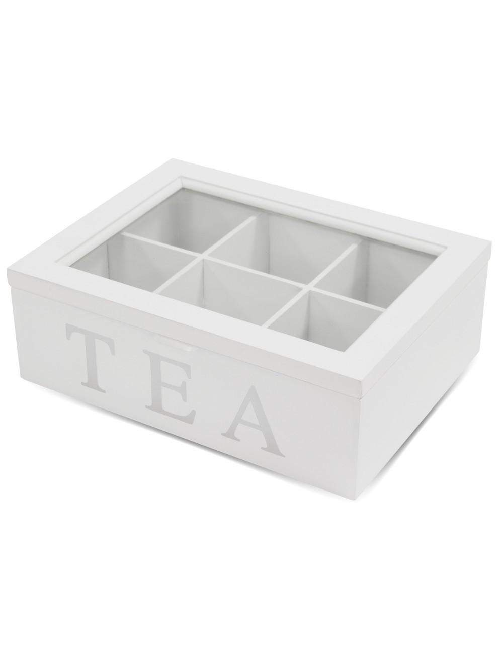biała skrzynka na herbatę TEA 6 przegródek