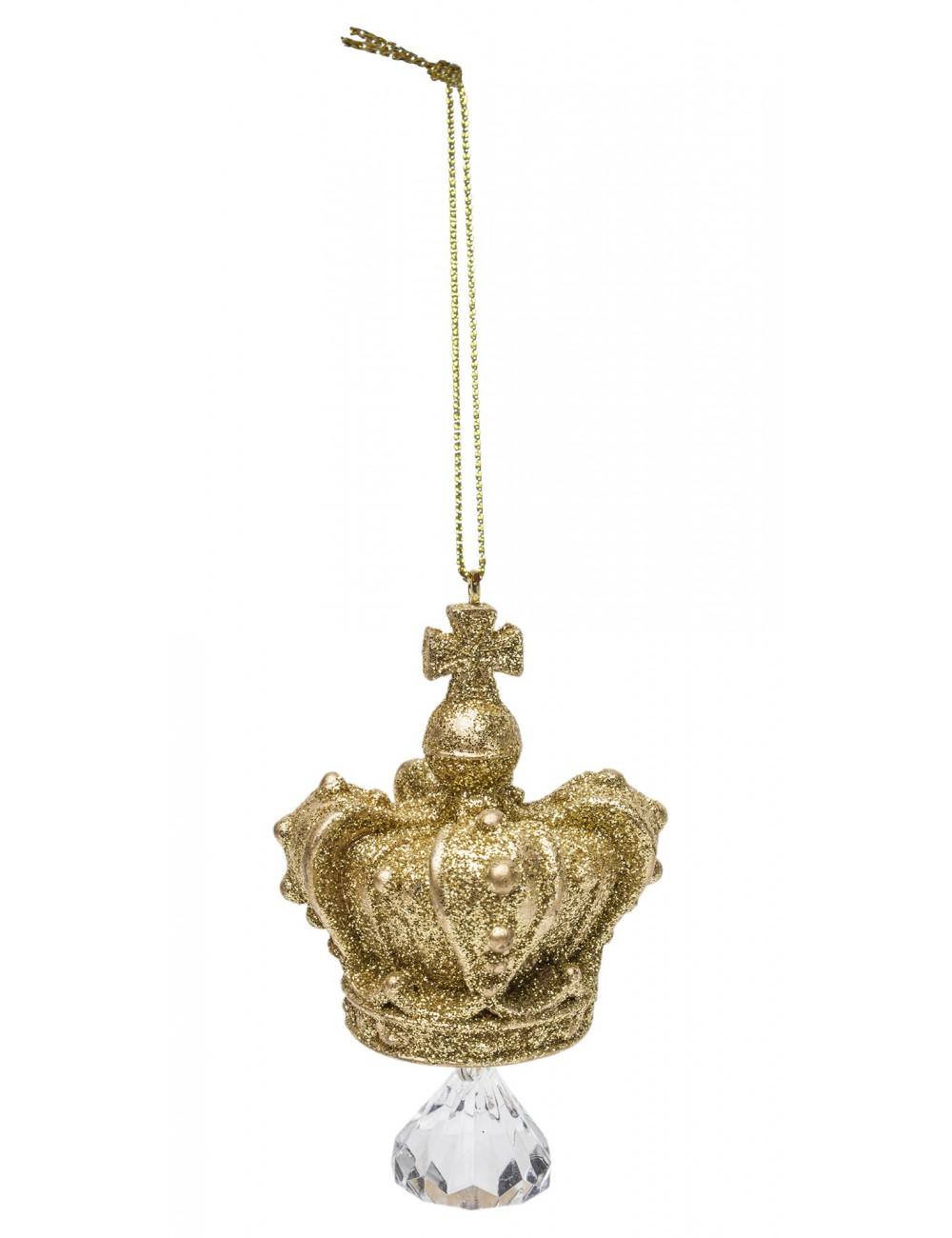 Zawieszka choinkowa ZŁOTA KORONA z kryształkiem brokat 9x4,5 cm