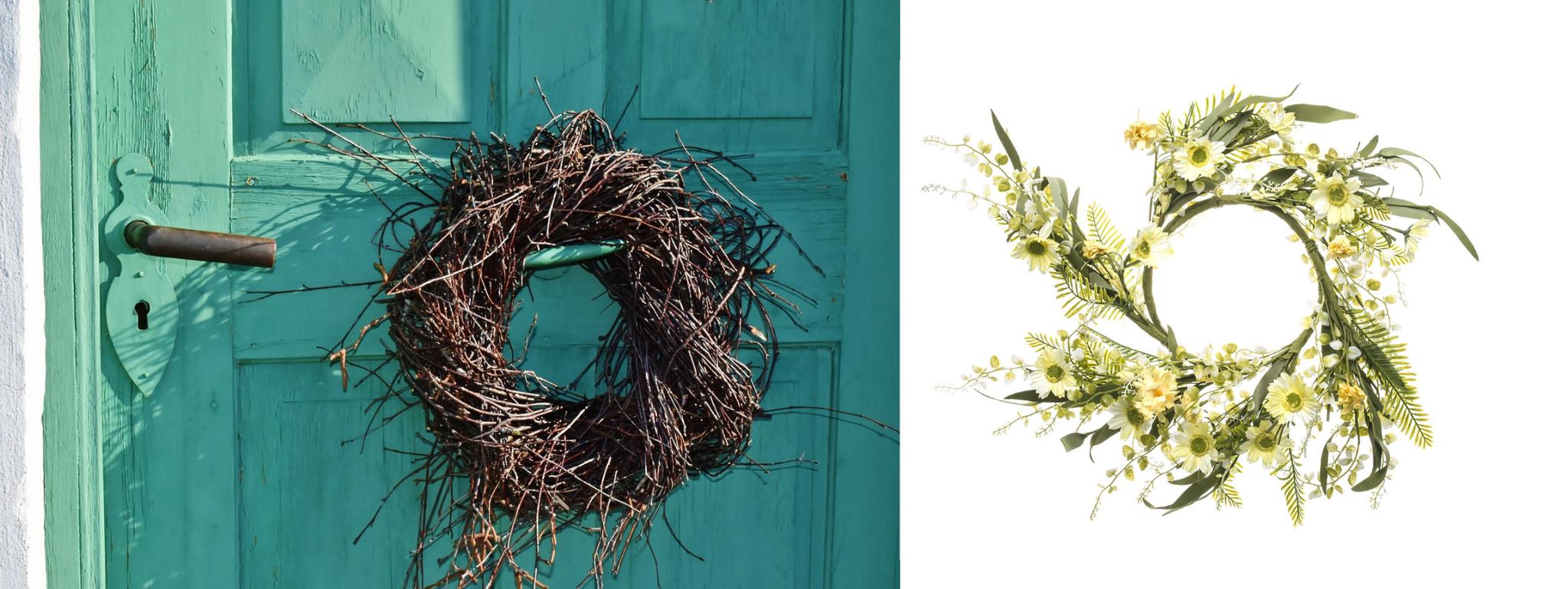 wianek z kwiatów wiosenny wielkanocny na drzwi